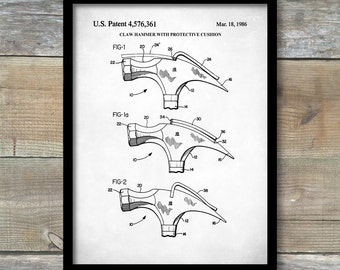Claw Hammer Patent Poster, Hammer Drawing Print, Hammer Patent, Tool Art, Unique Gifts for Dad, Garage Decor, Tool Poster, P381