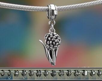 Sterling Silver Allium Charm or European Bracelet .925 Flower Bulb