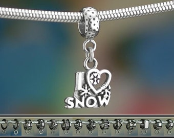 Sterling Silver I Love Snow Charm or European Style Charm Bracelet 925