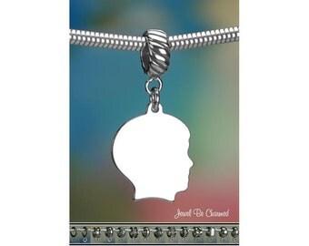 Sterling Silver Boy Silhouette Head Charm or European Style Bracelet