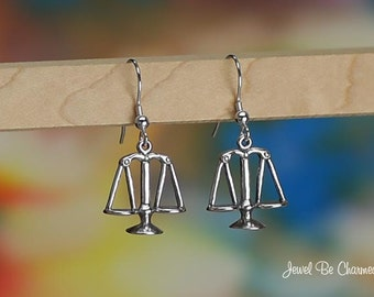 Sterling Silver Scales of Justice Earrings Fishhook Earwires Solid 925