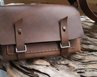 Leather messenger bag,laptop bag , waxed thread,  cow leather ,handmade,gift.