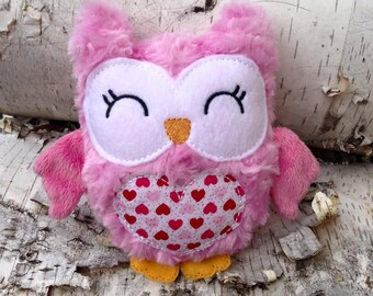 Embroidered Stuffed Valentine Owl Plush Toy / Doll / Ornament