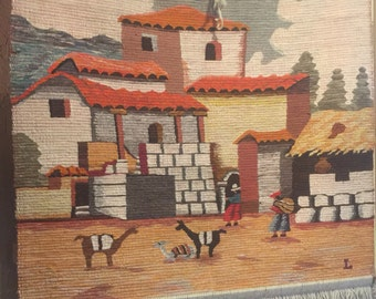Peruvian Tapestry Wall Hanging Wool With Alpacas