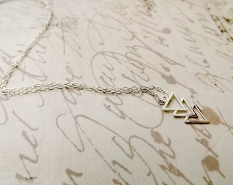 Sterling Silver Triple Triangle Necklace, Modern Triangle Cutout Pendant