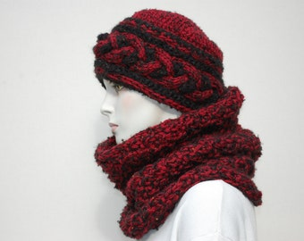 Chunky Hat-Chunky Cowl-Womens Hat-Beanies-Winter Hats-Beanie Hat-Knitted Hats-Chunky Hat Women-Knitted Cowl-Knit Cowl-Chunky Knit Cowl