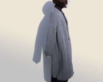 Oversized Cardigan-Winter Knit Cardigan-Wool Long Sleeve Cardigan-Open Cardigan Coat-Chunky Knit Sweater Coat-Loose Sweater-Wool knit Coat