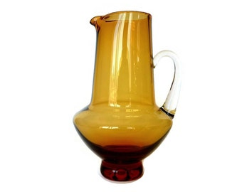 Hand Blown Glass Jug, Cocktail Pitcher, Mid Century Small Amber Glass Pitcher, Clear Handle