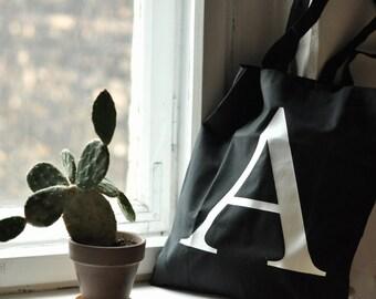 MEDIUM tote bag, black, A letter, fabric bag, canvas bag, shoulder bag, wearing on shoulder, shopping bag, linen bag, with print
