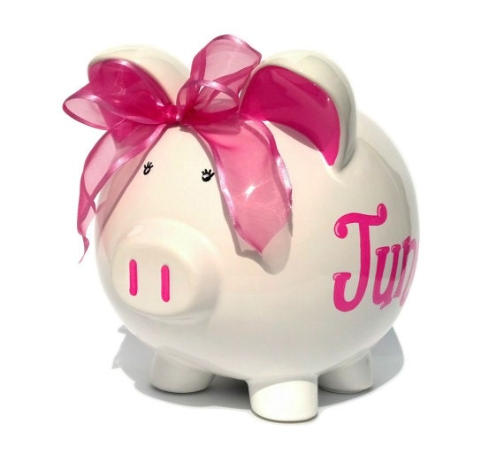 Personalized White Ceramic Piggy Bank Hand Painted Large