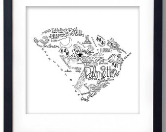 South Carolina - Hand drawn illustrations and type