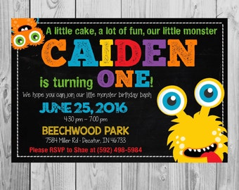 Monster Themed Birthday Party Invitation   Printable Invitation   Monster Theme Birthday   Size: 5x7 *DIGITAL FILE* by MMasonDesigns