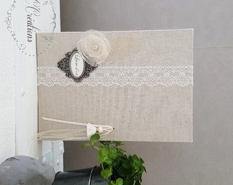 Wedding Guestbook {Retro} in linen, lace ivory, pink satin flower and ivory