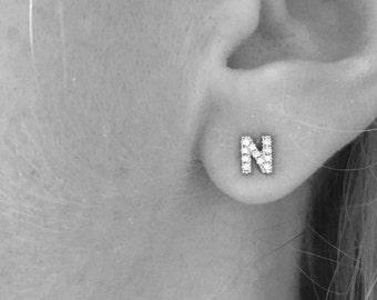 Tiny Diamond Initial Stud earrings, 14kt white gold