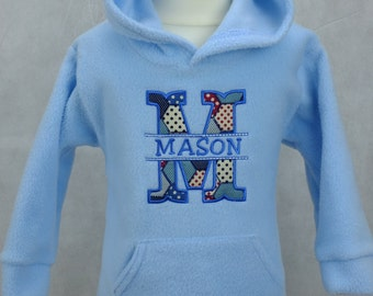 Personalised Baby Hoody/Hoodie Fleece Embroidered With Baby's Name Boy