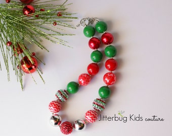 Christmas Chunky Necklace - Christmas Necklace - Girls Chunky Necklace - Chunky Bubblegum Necklace - Gumball Necklace - Girls Necklace