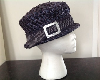 Navy blue vintage straw hat pinstripe grosgrain ribbon and trim buckle