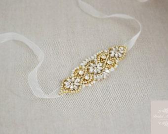 LUELLA Gold Vintage Inspired Bridal Sash Wedding Dress Belt
