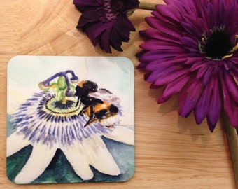 Bumblebee on passionflower coaster. Bumble bee passion flower. Watercolour bee.