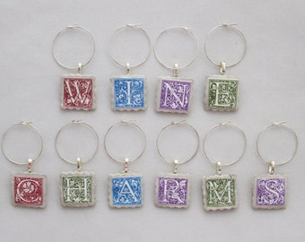 Alphabet Wine Charms- wine tags, initials, letters, monogram, red, blue, green, purple
