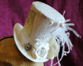 Bridal Mad Hatter Mini Top Hat,Alice in Wonderland Ivory Mini Top Hat,White Victorian Tea-Party Mini Top Hat - Made to Order