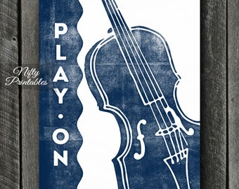 Violin Print - INSTANT DOWNLOAD Violin Art - Violin Poster - Violin Wall Art - Violin Gifts - Retro Violin Music Decor - Blue Music Prints