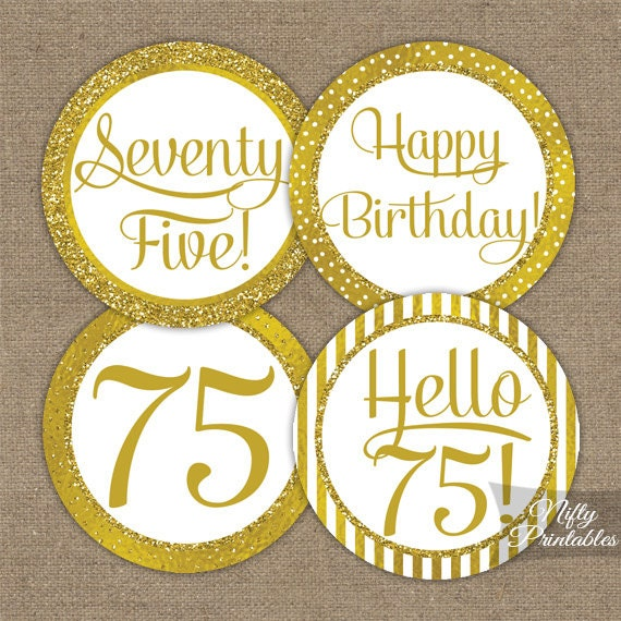 75th birthday cupcake toppers gold 75th birthday toppers for 75th birthday decoration