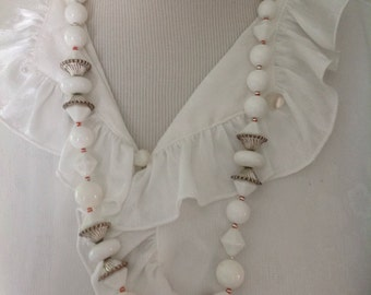 Vintage White Chunky beads....Silvertone accents.....1950s.....high quality