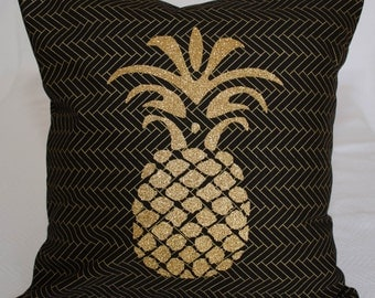 Decorative Pineapple Black and Gold Throw Pillow Cover