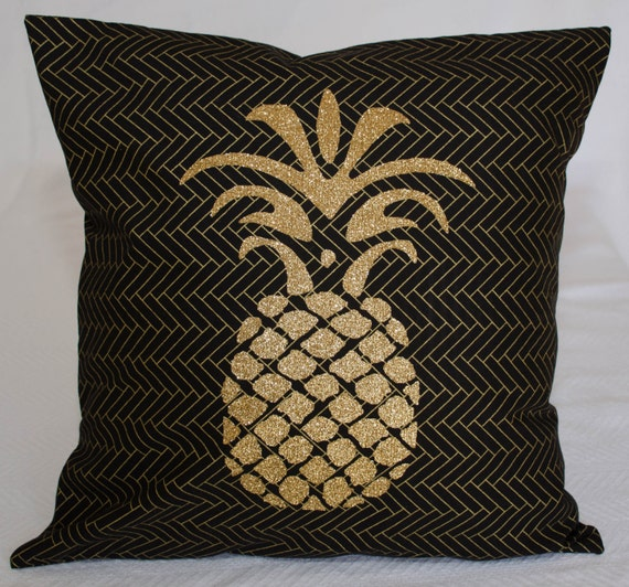 decorative pineapple black and gold throw pillow cover. Black Bedroom Furniture Sets. Home Design Ideas