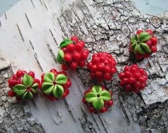 "Handmade lampwork glass 7 beads set ""Raspberries"""