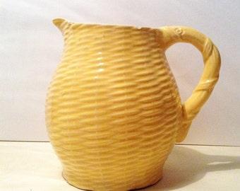 Vintage 1950s yellow ceramic jug or vase