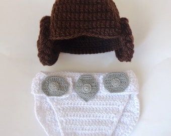 Princess Leia Baby Costume - Hat And Diaper Cover Set From Star Wars Newborn Photo Prop Halloween / Cosplay Wig