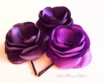 Purple Hair  Flowers Purple Hair Pins Purple Hair Clips Purple Flower Girl Purple Bobby Pins Purple Wedding Radiant Orchid Clip - Set of 3