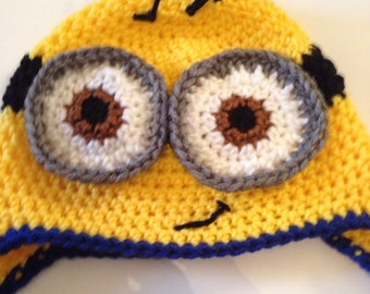 Minion crochet hat with earflaps