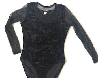 Amazing 1990s 90s Black Velour Bodysuit Velvet Sheer  Long Sleeved Boho Soft Grunge