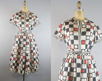 1950s Silk Dress w/ Tags! / 1950s Party Dress / 50s Dress