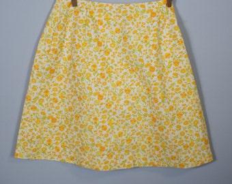 60s Orange Floral Mini Skirt / Mini Skirt / Summer Floral Skirt