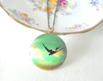Vintage Swallow Locket, Flying Bird Necklace, Large Locket, Round Brass Locket, Feminine Jewelry