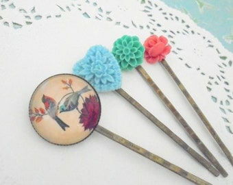 Vintage Birds Hair Slides, Blue Lacy Heart, Floral Hair Pins, Turquoise and Coral Flowers, Set of Four Hair Slides