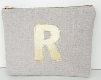Personalised Make-up bag,  cosmetic bag, linen cosmetic bag, Letter A only left