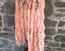 Bright Pink and Metallic Shawl Handmade