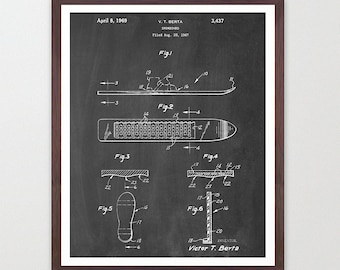 Snowboard Poster - Old Snowboard Design - Snowboarding Art  - Patent Print - Patent Poster - Snow Board - X Games - Winter Olympics