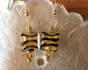Tiger Stripe Venetian Glass Earrings