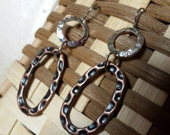 Earring - Textured Copper & Silver Links