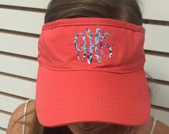 Coral Visor Hat with Lilly Inspired Monogram