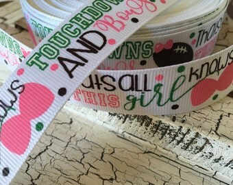 3 yards glitter Touchdown and girl knows bows  grosgrain ribbon