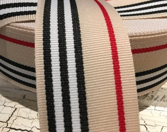 "1.5"" Preppy Tan Red and Black Stripe Grosgrain Ribbon sold by the yard"