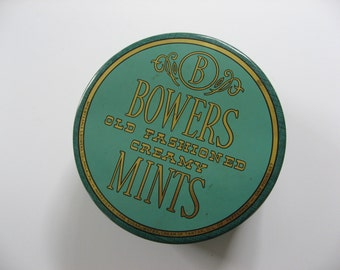 Bowers Old Fashioned Creamy Mints. Vintage Tin 1950s. teal and gold tin, awesome condition.