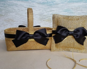 Gold Bling Flower Girl Basket & Pillow * Your Choice of Color * Gold Black Champagne Silver - Wedding Rhinestone Crystal Diamond Sparkle
